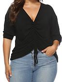 economico Taglie forti-T-shirt Per donna Essenziale Tinta unita A V Nero XL