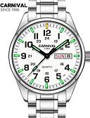 ieftine Ceasuri de Lux-Carnival Bărbați Ceas de Mână Quartz 30 m Rezistent la Apă Ceas Casual Oțel inoxidabil Bandă Analog Charm Modă Alb - Alb Alb+Albastru