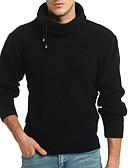 billige Herregensere og -cardigans-Herre Daglig Ensfarget Langermet Normal Pullover Svart / Kamel L / XL / XXL