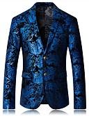 cheap Men's Blazers & Suits-Men's Daily Spring / Fall Plus Size Regular Blazer, Check Shirt Collar Long Sleeve Cotton / Polyester Blue 54 / 56 / 58