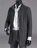 billige Herrejakker og -frakker-Herre Arbejde Trenchcoat, Ensfarvet Høj krave Polyester Navyblå / Army Grøn / Rød L / XL / XXL