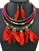 hesapli Gömlek-Kadın's Damla Küpeler Kolye Örgülü Bayan Vintage Afrika Tüy Küpeler Mücevher Siyah / Kırmzı / Mavi Uyumluluk Dışarı Çıkma Festival 1set