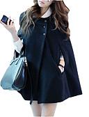 cheap Women's Coats & Trench Coats-Women's Daily Regular Coat, Solid Colored Turndown Long Sleeve Rabbit Fur / Linen / Polyester Black L / XL / XXL / Loose
