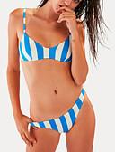 povoljno Kupaći kostimi u plus veličini-Žene Osnovni S naramenicama Plava Povez za glavu Cheeky gaćice Bikini Kupaći kostimi - Prugasti uzorak S M L