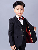 ราคาถูก ชุดสูทสำหรับเด็ก-สีดำ Serge แหวนสูทถือ - 5 ชิ้น รวม แจ๊คเก็ต / เสื้อกั๊ก / เสื้อเชิ้ต