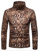 abordables Sous Vêtements Exotiques pour Hommes-Homme Quotidien Géométrique Manches Longues Court Pullover, Col Roulé Printemps / Automne Marron / Vert Claire L / XL / XXL