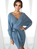 hesapli Sweater Dresses-Kadın's Örgü İşi Elbise - Solid, Wrap V Yaka Mini