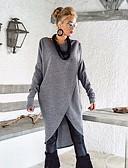 baratos Vestidos Plus Size-Mulheres Irregular / Oversized Tamanhos Grandes Calças - Sólido Tricotado Cinzento Escuro / Gola Redonda / Assimétrico