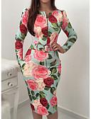 billige Bælter til mænd-Dame Fest / Ferie / I-byen-tøj Elegant Tynd Bodycon Kjole - Blomstret, Trykt mønster Knælang Rose