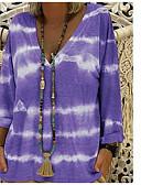 ieftine Tricou-Pentru femei În V Tricou Bumbac De Bază - Cravată / Larg