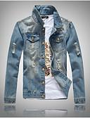 お買い得  メンズブレザー&スーツ-男性用 日常 ストリートファッション レギュラー ジャケット, ソリッド シャツカラー 長袖 ポリエステル ライトブルー XL / XXL / XXXL