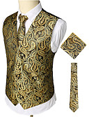 cheap Men's Blazers & Suits-Men's Work / Club Business / Luxury / Vintage Spring / Fall / Winter Regular Vest, Paisley V Neck Sleeveless Cotton / Spandex Print Gold XL / XXL / XXXL / Business Casual / Slim