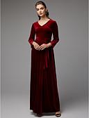 preiswerte Abendkleider-A-Linie V-Ausschnitt Boden-Länge Samt Formeller Abend Kleid mit Schärpe / Band / Vorne geschlitzt durch TS Couture®