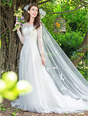 cheap Wedding Dresses-Princess Jewel Neck Sweep / Brush Train Lace / Tulle Made-To-Measure Wedding Dresses with Appliques by LAN TING Express