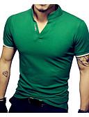 お買い得  新着 メンズシャツ-男性用 スポーツ プラスサイズ Tシャツ ベーシック スタンド スリム ソリッド コットン / 半袖