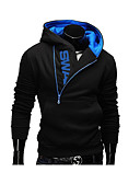 cheap Men's Hoodies & Sweatshirts-Men's Active Long Sleeve Hoodie - Color Block Hooded Dark Gray 4XL / Fall / Winter