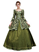 cheap Historical & Vintage Costumes-Rococo Lace Up Victorian Costume Women's Dress Party Costume Masquerade Ball Gown Green / Blue Vintage Cosplay Satin 3/4 Length Sleeve Floor Length Ball Gown Plus Size Customized / Floral