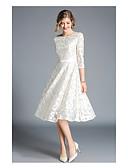 preiswerte Abendkleider-A-Linie Bateau Knie-Länge Spitze Abiball Kleid mit durch LAN TING Express
