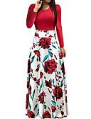 abordables Robes Maxi-Femme Vacances Sortie Elégant Maxi Robe - Imprimé, Fleur Rose Printemps Automne Vert Blanc Rose Claire M L XL Manches Longues