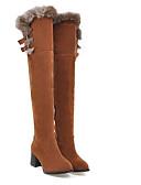 povoljno Haljine za djevojčice-Žene PU Zima Čizme Kockasta potpetica Zatvorena Toe Čizme do koljena Sive boje / Bijela / Crvena