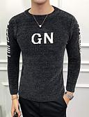 billige Herreskjorter-Herre Daglig Bokstaver Langermet Tynn Normal Pullover Svart / Grå / Kakifarget XL / XXL / XXXL
