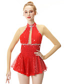 cheap Ice Skating Dresses , Pants & Jackets-Figure Skating Dress Women's / Girls' Ice Skating Dress Red Swan Spandex, Stretch Yarn High Elasticity Professional / Competition Skating Wear Handmade Fashion Long Sleeve Ice Skating / Winter Sports
