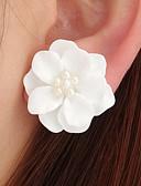 Χαμηλού Κόστους Φορέματα για κορίτσια-Γυναικεία 3D Κουμπωτά Σκουλαρίκια Απομίμηση Μαργαριταριού Σκουλαρίκια Λουλούδι κυρίες Στυλάτο Κλασσικό Κοσμήματα Λευκό / Μαύρο / Ροζ Ανοικτό Για Καθημερινά 1 Pair
