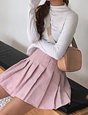 tanie Damska spódnica-damskie bawełniane mini spódnice w linii - jednolity kolor