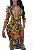 economico Camicie da donna-Per donna Moda città Taglia piccola Fodero Vestito A V Al ginocchio