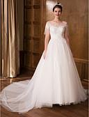 olcso Menyasszonyi ruhák-Hercegnő Illúziós nyakpánt Kápolna uszály Csipke / Tüll Made-to-measure esküvői ruhák val vel Csipke által LAN TING Express / Gyönyörű fekete