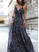 cheap Maxi Dresses-Women's Party / Daily / Beach Maxi Tunic Dress - Leopard V Neck Blue Dark Gray Fuchsia M L XL / Sexy