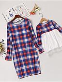 זול סטים של בגדים למשפחה-שמלה שרוול ארוך משובץ פעיל אמא ואני