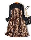 ieftine Tricou-Pentru femei De Bază Bumbac Pantaloni - Leopard Talie Înaltă Roșu-aprins / Ieșire