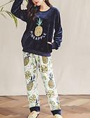 abordables Batas y ropa de dormir-Mujer Escote Redondo Traje Pijamas Geométrico