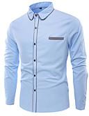 お買い得  メンズシャツ-男性用 プラスサイズ シャツ ベーシック スリム ソリッド ブルー XXL / 長袖