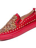 זול חולצות פולו לגברים-בגדי ריקוד גברים נעלי נוחות PU סתיו יום יומי נעליים ללא שרוכים נושם שחור / אדום