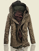 cheap Men's Downs & Parkas-Men's Daily Street chic Solid Colored Plus Size Long Parka, Polyester Long Sleeve Winter Hooded Black / Army Green / Khaki 4XL / XXXXXL / XXXXXXL