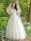 cheap Wedding Dresses-Princess V Neck Floor Length Lace / Tulle Made-To-Measure Wedding Dresses with Bow(s) / Sashes / Ribbons by LAN TING Express