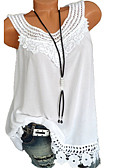 cheap Women's Hoodies & Sweatshirts-Women's Basic Plus Size Tank Top - Solid Colored / Geometric Lace / Hollow Wine XXXL / Summer