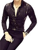 cheap Men's Shirts-Men's Cotton Shirt - Striped Print / Long Sleeve / Club / Classic Collar / Slim