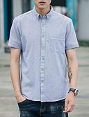 cheap Men's Shirts-Men's Plus Size Cotton Shirt - Striped Red XXL / Short Sleeve