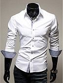 cheap Men's Shirts-Men's Work Business Plus Size Cotton Slim Shirt - Solid Colored Basic Spread Collar Black XL / Long Sleeve / Spring / Fall
