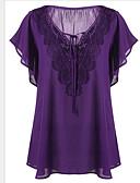 billige Plusstørrelser-Tynn V-hals Store størrelser T-skjorte Dame - Ensfarget Grunnleggende Gul