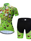 hesapli Mini Elbiseler-TELEYI Kadın's Kısa Kollu Şortlu Bisiklet Forması Yeşil Mavi Pembe Çiçek / Botanik Bisiklet Giysi Takımları Nefes Alabilir Nem Emici Hızlı Kuruma Spor Dalları Polyester Çiçek / Botanik Da / Streç