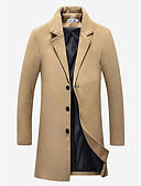 cheap Men's Jackets & Coats-Men's Daily Vintage / Basic Fall / Winter Plus Size Long Coat, Solid Colored Notch Lapel Long Sleeve Cotton / Polyester Wine / Khaki / Light gray XXXL / XXXXL / XXXXXL