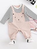 Χαμηλού Κόστους Βρεφικά σετ ρούχων-Μωρό Κοριτσίστικα Βασικό Μονόχρωμο Μακρυμάνικο Πολυεστέρας Ολόσωμη Φόρμα & Φόρμες Ανθισμένο Ροζ / Νήπιο
