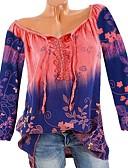 cheap Women's Shirts-Women's Basic Plus Size T-shirt - Floral V Neck Rainbow XXXL