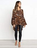 ราคาถูก เสื้อฮู้ดและเสื้อกันหนาวสเว็ตเชิ้ตผู้หญิง-สำหรับผู้หญิง เชิร์ต พื้นฐาน ฝ้าย เพรียวบาง แขนพอง, รูปเรขาคณิต ทับทิม M