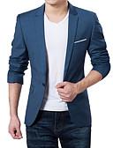 billige Herreblazere og jakkesæt-Herre Daglig / Arbejde Forår / Efterår Plusstørrelser Normal Blazer, Ensfarvet V-hals Langærmet Akryl / Polyester Mørkeblå / Grå / Vin 4XL / XXXXXL / XXXXXXL / Business Formal / Tynd