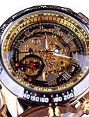 hesapli Paslanmaz Çelik-Erkek İskelet Saat mekanik izle Quartz Paslanmaz Çelik Siyah / Altın Rengi Derin Oyma Büyük Kadran Analog Günlük Moda - Altın / Siyah Siyah / Gümüş Siyah / Gül Altın